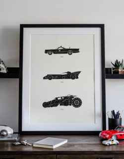 Batman Batmobile Car Art Car Print Car Poster F1 Poster Automotive Art - Rear View Prints
