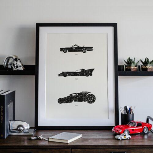 Batman Batmobile Car Art Car Print Car Poster F1 Poster Automotive Art - Rear View Prints