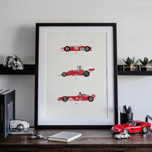 Ferrari F1 Car Art Car Print Car Poster F1 Poster Automotive Art - Rear View Prints