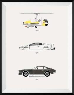James Bond Car Poster Art Print - Rear View Prints