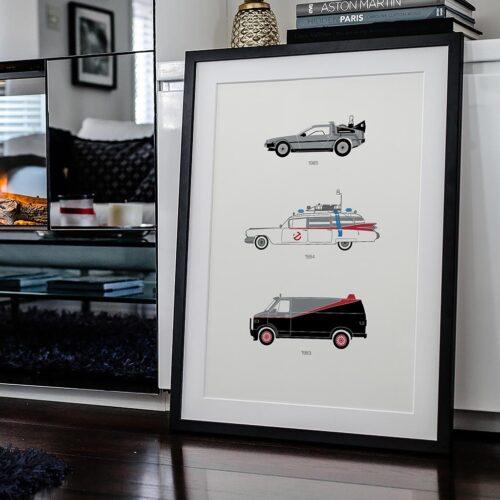 80s Movie Car Poster Art Print - Rear View Prints