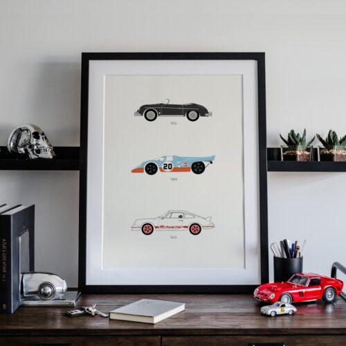 Porsche Car Art Car Print Car Poster F1 Poster Automotive Art - Rear View Prints