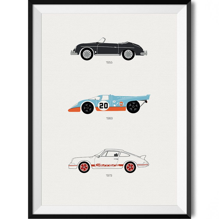 porsche car print art poster rear view prints
