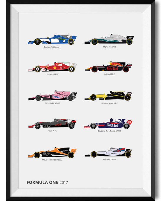 Formula One Car Lineup Car Print WBoarder Frame 2 - Rear View Prints