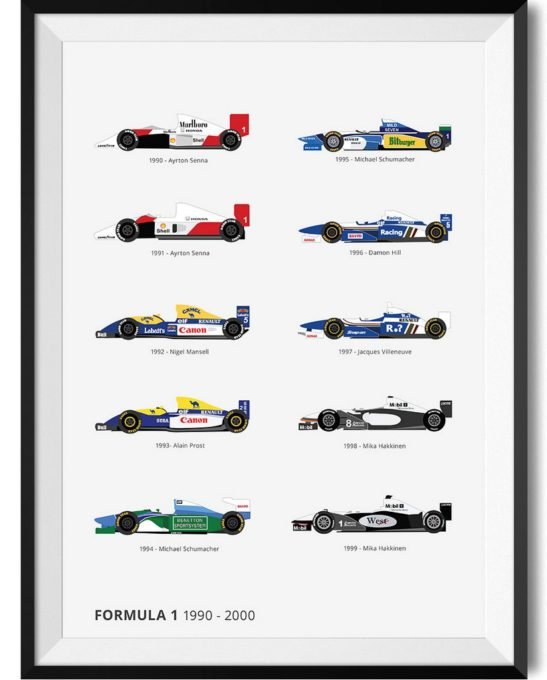 F1 90s Winners - Rear View Prints