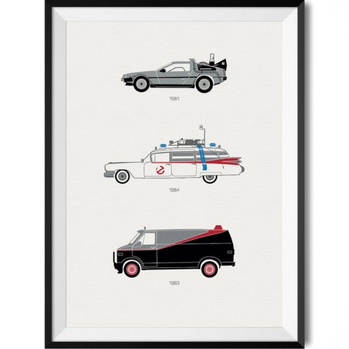 80s movie poster print automotive art framed desk view - Rear View Prints