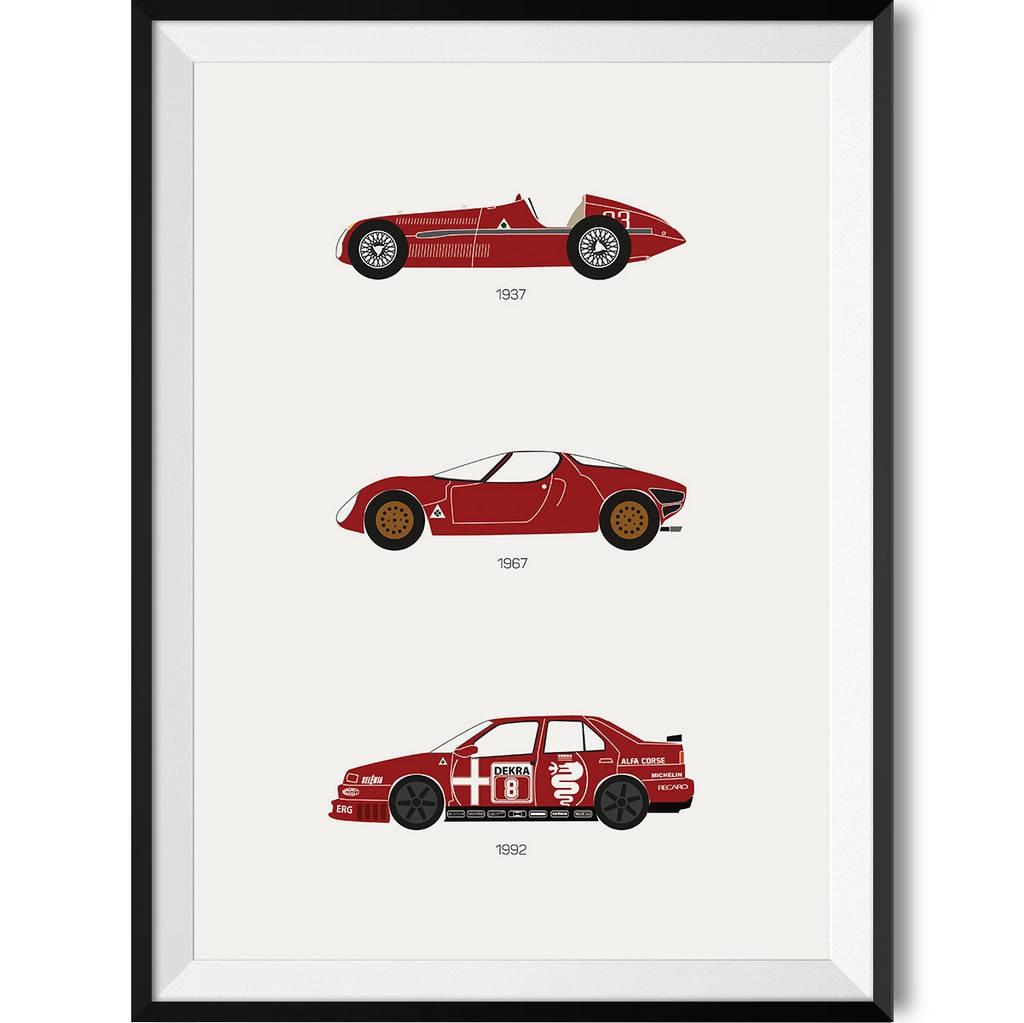 Alfa Romeo Car Print Art Poster Rear View Prints - Alfa romeo posters
