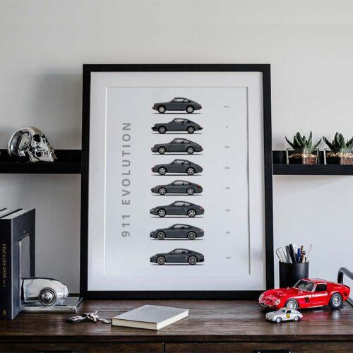 Porsche 911 Car Poster Art Print - Rear View Prints