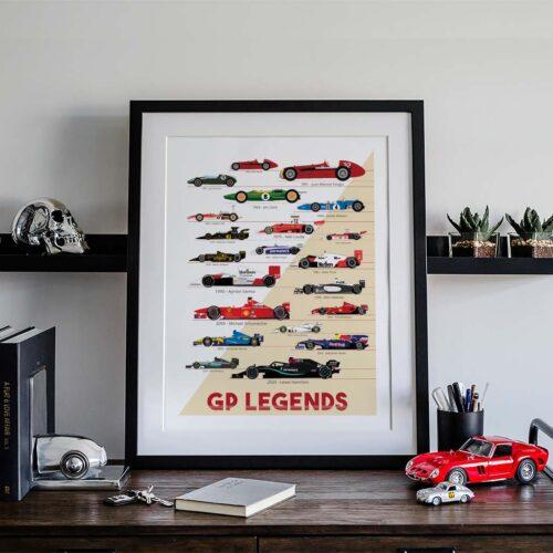 Formula 1 Legends Champions Poster Art Print - Rear View Prints