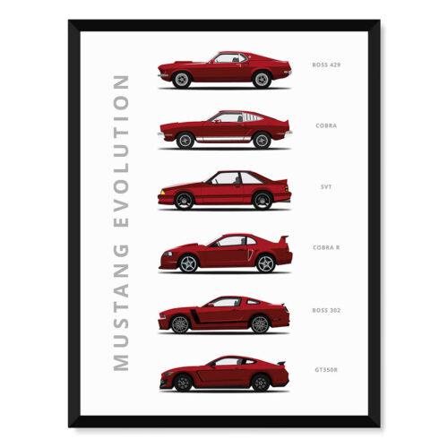 Ford Mustang - Car Poster - Art Print - Rear View Prints