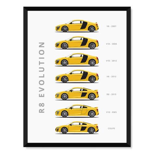 Audi R8- Car Poster - Art Print - Rear View Prints