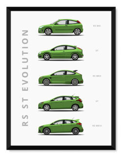 Ford Focus RS - Car Poster - Art Print - Rear View Prints