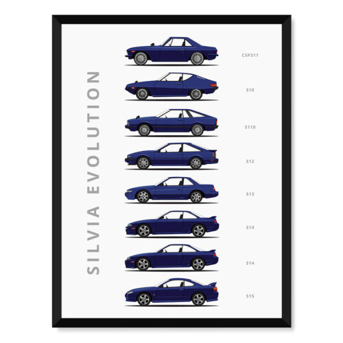 Nissan Silvia - Car Poster - Art Print - Rear View Prints