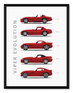 Dodge Viper - Car Poster - Art Print - Rear View Prints