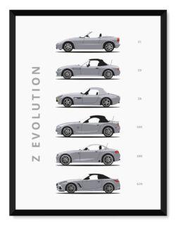 BMW Z - Car Poster - Art Print - Rear View Prints