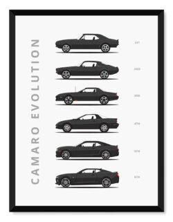 Chevy Camaro - Car Poster - Art Print - Rear View Prints