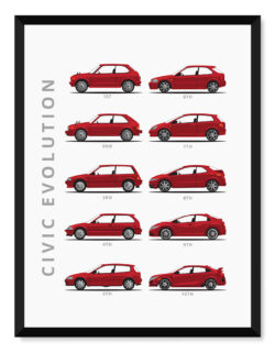 Honda Civic - Car Poster - Art Print - Rear View Prints