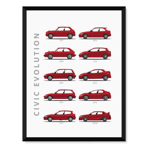 Honda Civic - Car Poster - Art Print - Rear View Prints