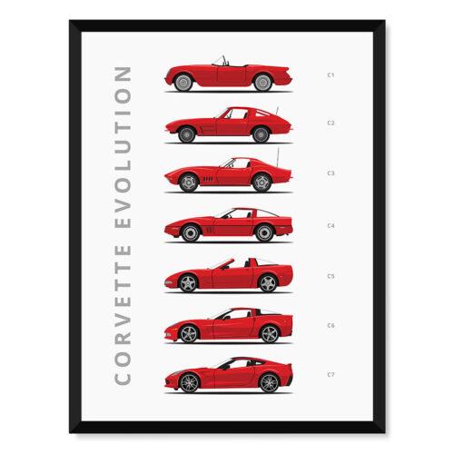 Chevy Corvette - Car Poster - Art Print - Rear View Prints