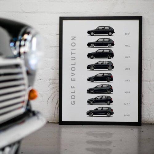 Volkswagen Golf Car Poster Art Print - Rear View Prints