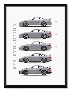 Porsche 911 GT2 - Car Poster - Art Print - Rear View Prints