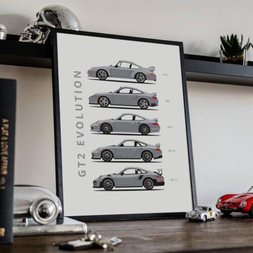 Porsche 911 GT2 - Car Poster - Art Print - Rear View Prints
