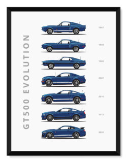 Ford Mustang GT 500 - Car Poster - Art Print - Rear View Prints