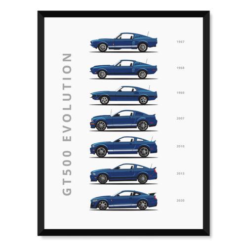 Ford Mustang GT 500 - Car Poster - Art Print - Rear View Prints