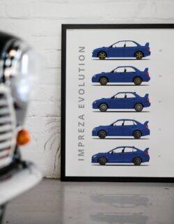 Subaru Impreza - Car Poster - Art Print - Rear View Prints