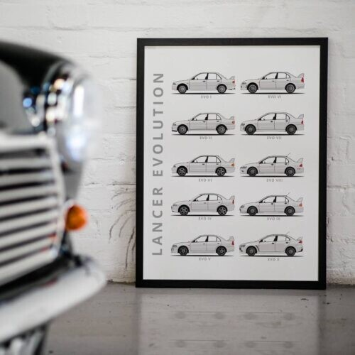 Mitsubishi Lancer Evolution - Car Poster - Art Print - Rear View Prints