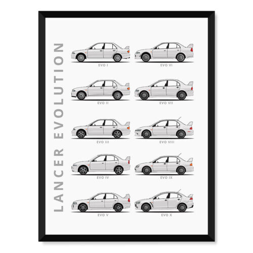 Mitsubishi Lancer Evolution - Car Poster - Art Print - Rear View Prints