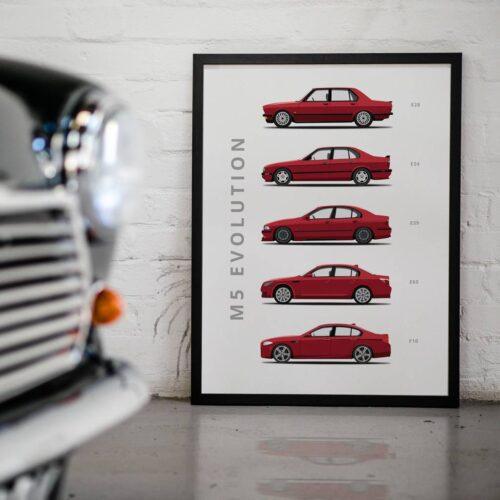 BMW M5 - Car Poster - Art Print - Rear View Prints