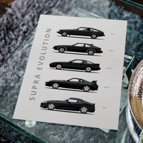 Toyota Supra - Car Poster - Art Print - Rear View Prints
