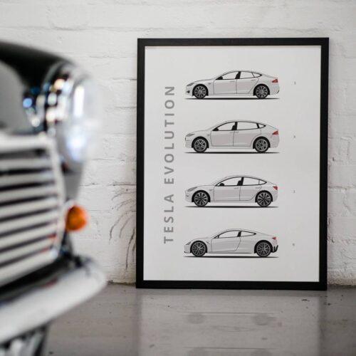 Tesla - Car Poster - Art Print - Rear View Prints