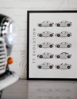 Audi TT - Car Poster - Art Print - Rear View Prints