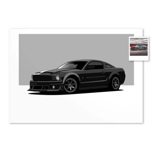 Custom Car Art Commissions - Draw My Ride - Art Print - Rear View Prints