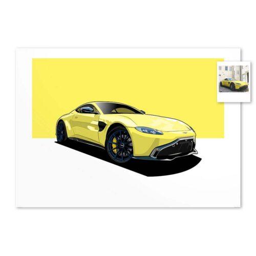 Custom Car Art Commissions - Draw My Ride - Art Print - Rear View Prints