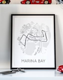 Marina Bay Street Circuit Track Poster F1 Art Print - Rear View Prints