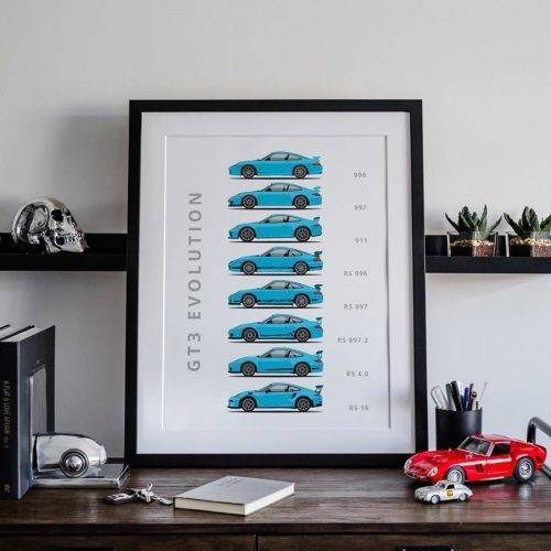 Porsche 911 GT3 Car Poster Art Print - Rear View Prints