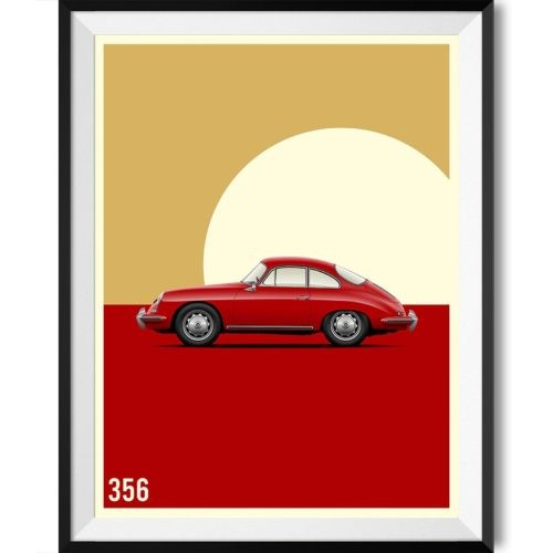 Porsche 356 Car Poster Art Print - Rear View Prints