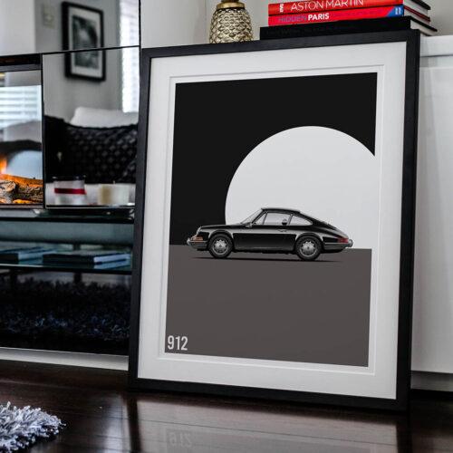 Porsche 912 Car Poster Art Print - Rear View Prints