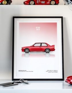 BMW E30 M3 Car Poster Art Print - Rear View Prints