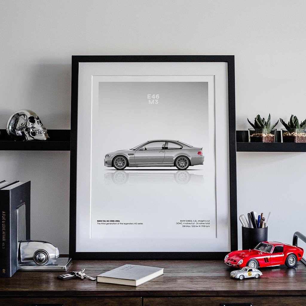 A4 A3 A2 sizes BMW E46 COUPE Black - POSTER Art Print Car RENDER
