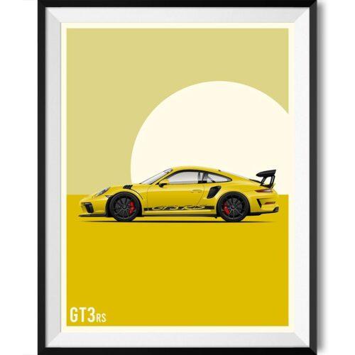 Porsche GT3 Car Poster Art Print - Rear View Prints