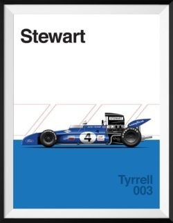 Tyrell 003 F1 Poster Car Art Print - Rear View Prints