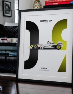 Brawn BGP 001 F1 Car Poster Art Print - Rear View Prints