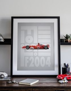 Ferrari F2004 F1 Poster Art Print - Rear View Prints