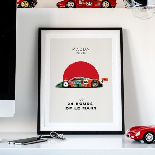 Mazda 787b Motorsport Poster Car Art Print - Rear View Prints