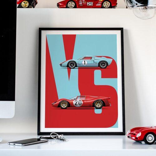 GT40 vs 330P3 Motorsport Car Art Print Poster - Rear View Prints