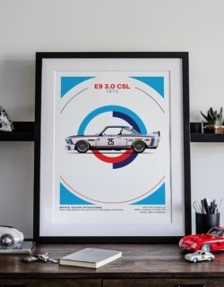 BMW E9 3.0 CSL Motorsport Poster Car Art Print - Rear View Prints